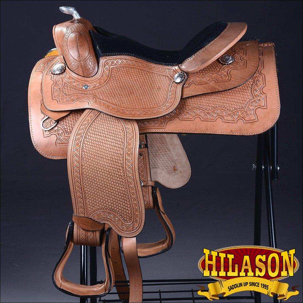 "BH117-F HILASON WESTERN LEATHER EQUITATION HORSE SHOW TRAIL PLEASURE SADDLE 16"""
