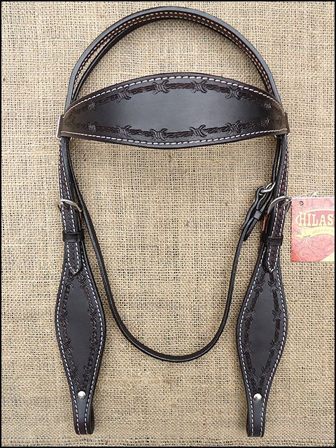 S321BK HILASON WESTERN LEATHER HORSE BRIDLE HEADSTALL BARB WIRE HAND TOOL BLACK