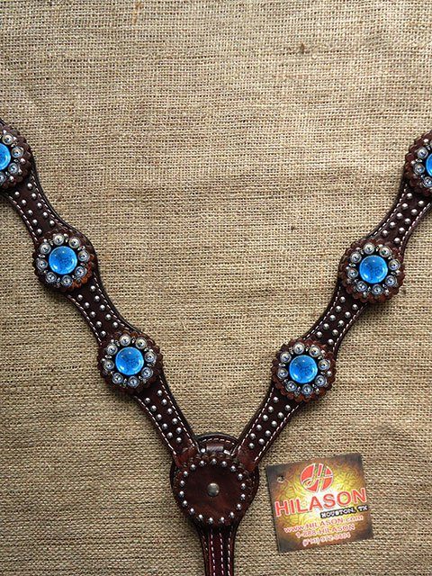F- HILASON WESTERN LEATHER HORSE BREAST COLLAR DARK BROWN TURQUOISE BERRY CONCHO
