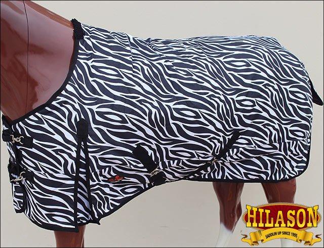 76 in HILASON 1200D RIPSTOP WATERPROOF POLY TURNOUT HORSE WINTER SHEET ZEBRA