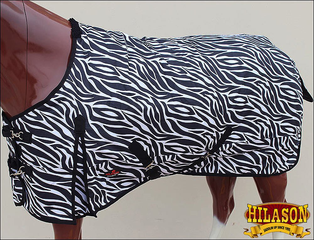 69 in HILASON 1200D RIPSTOP WATERPROOF POLY TURNOUT HORSE WINTER SHEET ZEBRA