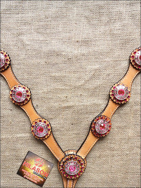 S502 HILASON WESTERN LEATHER HORSE BREAST COLLAR TAN W/ PINK CONCHOS