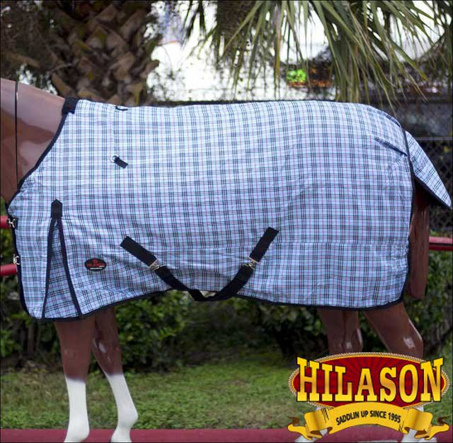 """68"""" HILASON 1200D WINTER WATERPROOF POLY TURNOUT HORSE BLANKET GREY CHECK"""