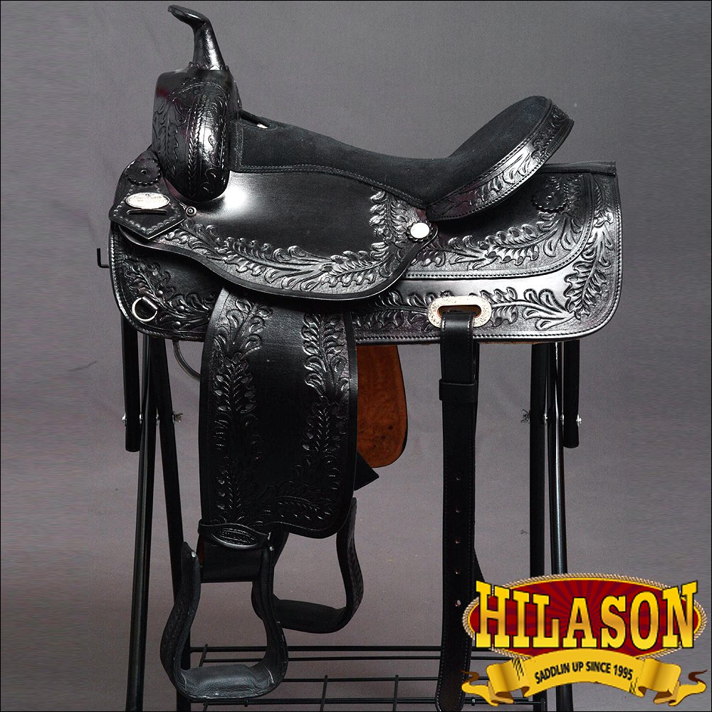 "DF202BK-F HILASON WIDE GULLET DRAFT WESTERN TRAIL ENDURANCE HORSE SADDLE 17"""