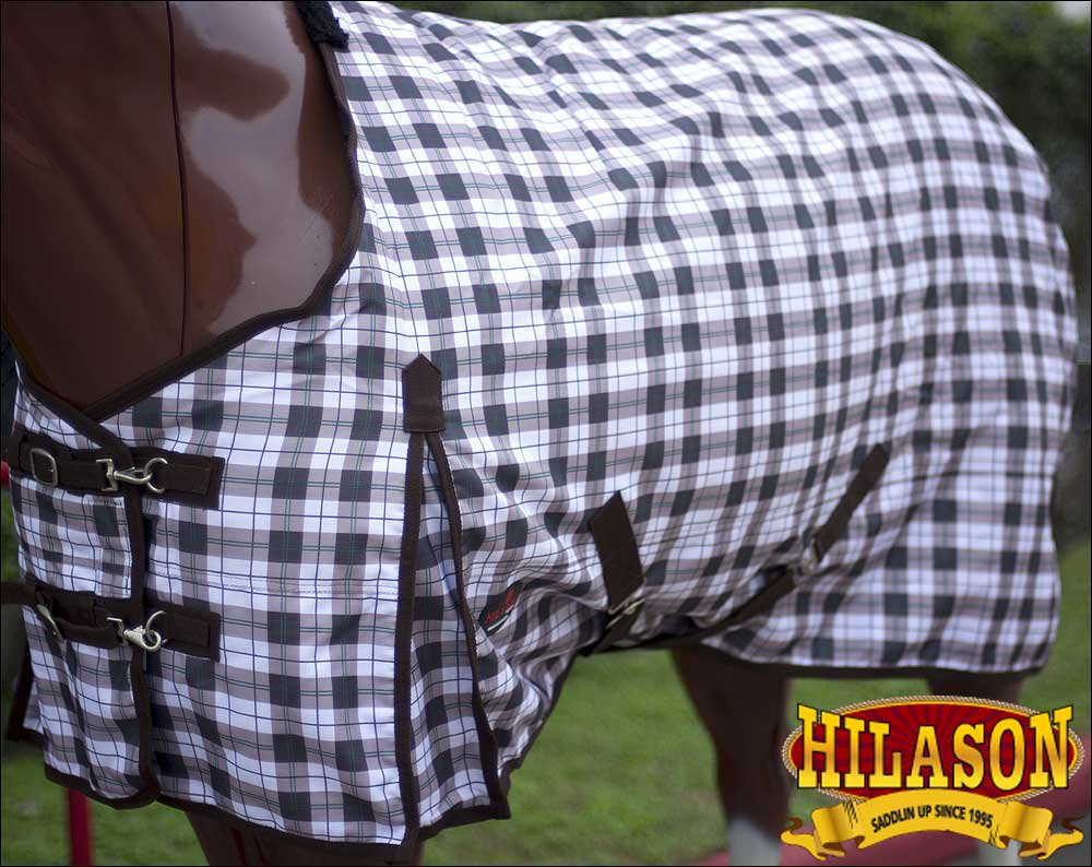 "92"" GREEN PLAID HILASON 1200D WINTER WATERPROOF POLY TURNOUT HORSE BLANKET"