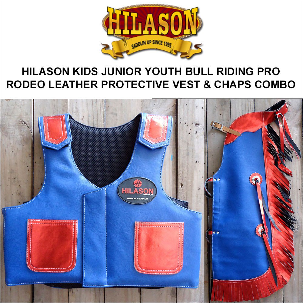 814F HILASON KIDS JUNIOR YOUTH BULL RIDING RODEO LEATHER PROTECTIVE VEST & CHAPS