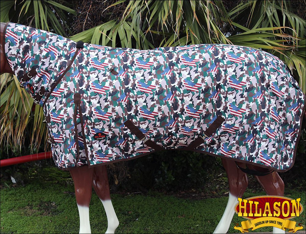 """72"""" HILASON 1200D WATERPROOF TURNOUT HORSE BLANKET NECK COVER USA CAMOUFLAGE"""