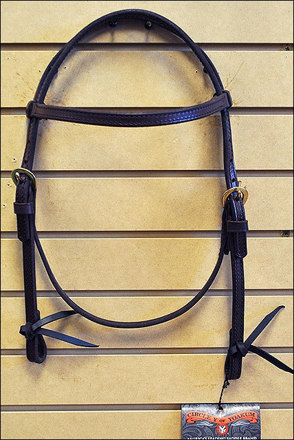 CIRCLE Y WALNUT LEATHER HORSE BROWBAND HEADSTALL BRASS HARDWARE