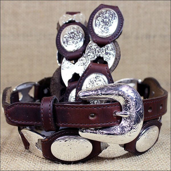 TONY LAMA COWGIRL BROWN SILVER LINK LADIES LEATHER BELT