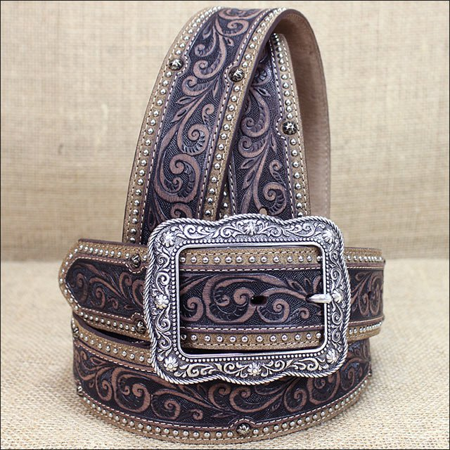 42 inch x 1-3/4 inch JUSTIN MIDLAND CLASSIC TOOLED BROWN LEATHER WESTERN BELT