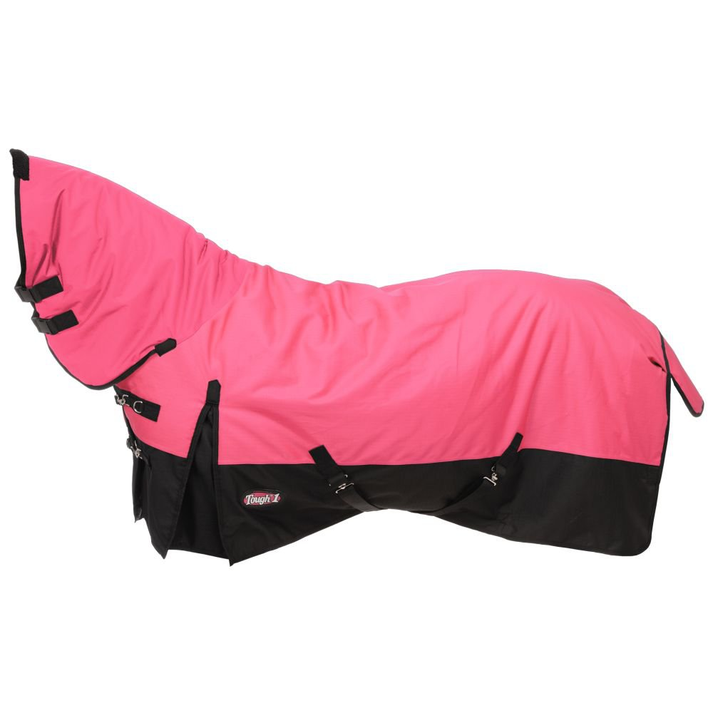 """72"""" TOUGH-1 600D WATERPROOF POLY HORSE FULL NECK TURNOUT BLANKET PINK"""