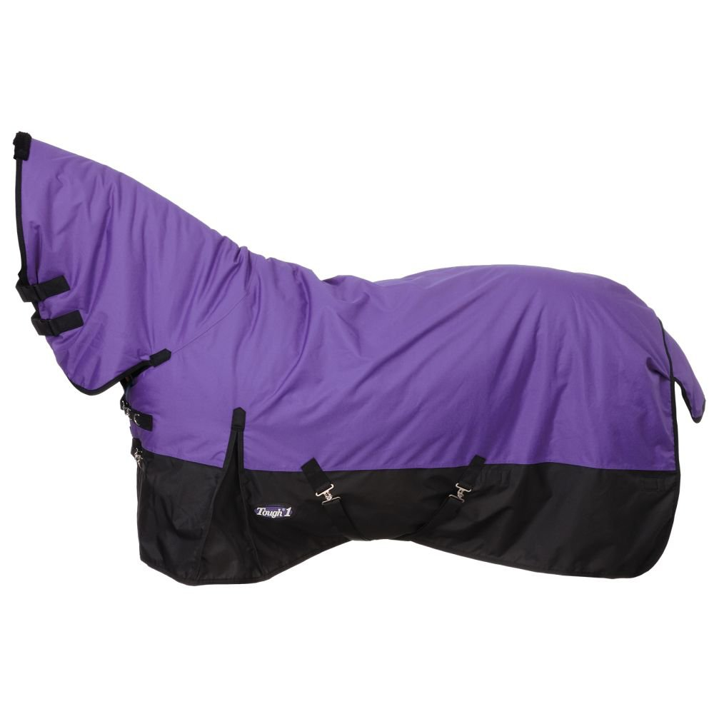 """75"""" TOUGH-1 600D WATERPROOF POLY HORSE FULL NECK TURNOUT BLANKET PURPLE"""