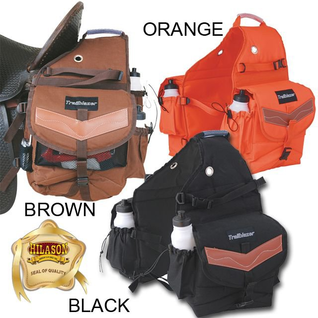 HORSE TRAIL RIDING CAMPING SADDLE BAG PACK 2 WATER BOTTLES BLACK ORANGE BROWN
