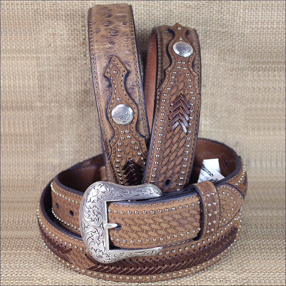 46 INCH WESTERN NOCONA CONCHOS LEATHER MENS BELT OSTRICH TAN OVERLAY