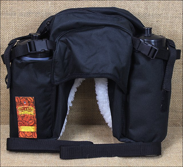 SADDLE BAGS W/BOTTLE 600D CORDURA OUTER BLACK
