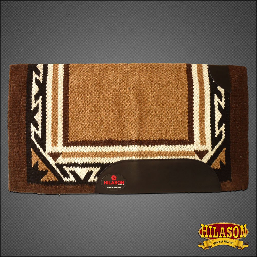 FE224F- BROWN HILASON WESTERN NEW ZEALAND WOOL SADDLE BLANKET HORSE RODEO BARREL