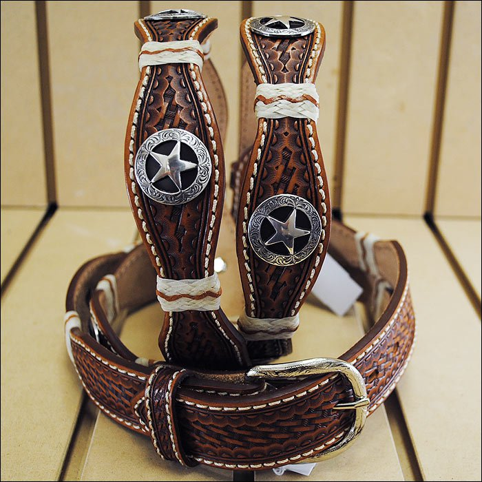 36in. JUSTIN IRON SCALLOP TOOLED WESTERN LEATHER MANS BELT BROWN WITH CONCHO