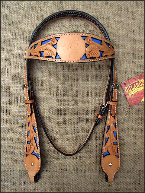 HILASON WESTERN LEATHER HORSE BRIDE HEADSTALL TAN W/ ROYAL BLUE INLAY