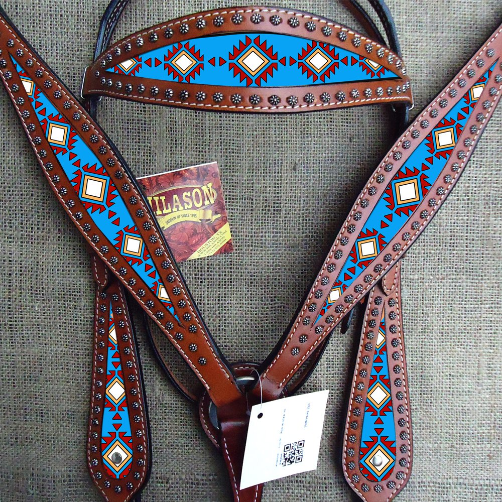 HILASON WESTERN LEATHER HEADSTALL BREAST COLLAR MAHOGANY TURQUOISE AZTEC PAINTED