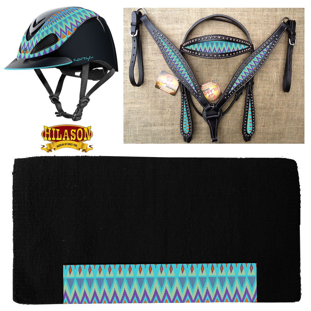 S-HILASON LEATHER HEADSTALL BREAST COLLAR TROXEL HELMET BLANKET TURQUOISE AZTEC