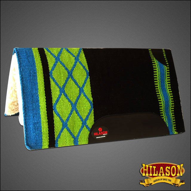 MADE N USA F294 HILASON WESTERN WOOL SHOCK BUSTER SADDLE BLANKET PAD BLACK GREEN