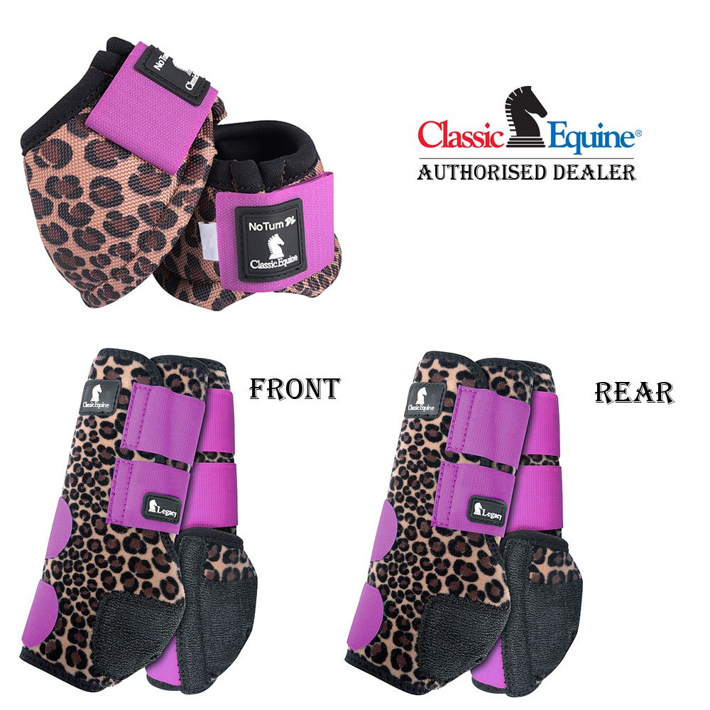 SMALL 6 PACK CLASSIC EQUINE FRONT REAR SPORTS NO TURN BELL BOOTS HORSE CHEETAH