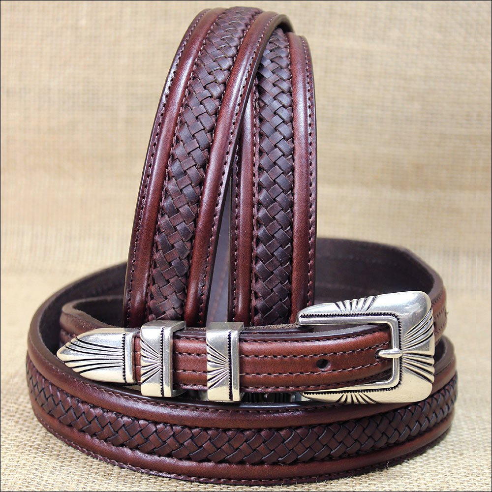 34 inch TONY LAMA BROWN LEATHER TENAYA CENTER LACED BELT