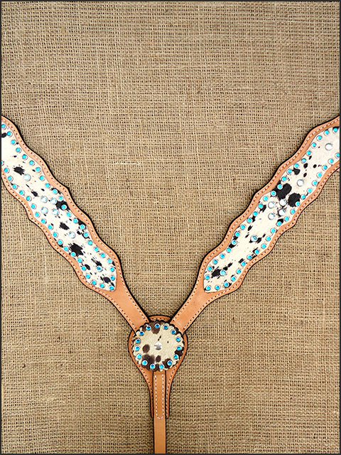 HILASON WESTERN COWHIDE LEATHER HORSE BREAST COLLAR TURQUOISE CRYSTAL