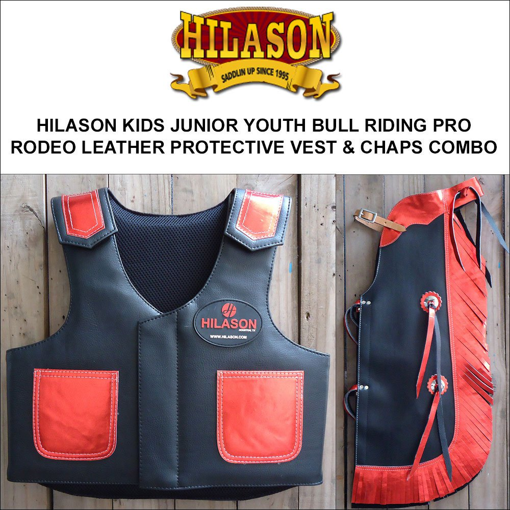 809F HILASON KIDS JUNIOR YOUTH BULL RIDING RODEO LEATHER PROTECTIVE VEST & CHAPS