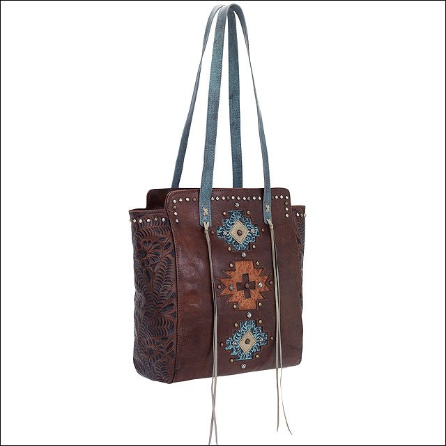 AMERICAN WEST LEATHER NAVAJO SOUL ZIP TOP TOTE LADIES SHOULDER EARTH BROWN BAG