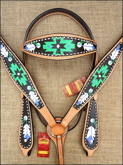 HILASON WESTERN LEATHER HORSE BRIDLE HEADSTALL BREAST COLLAR HAND PAINT BLACK