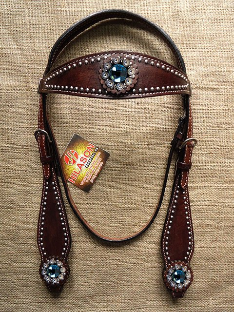 HILASON WESTERN LEATHER HORSE BRIDLE HEADSTALL DARK BROWN TURQUOISE BERRY CONCHO