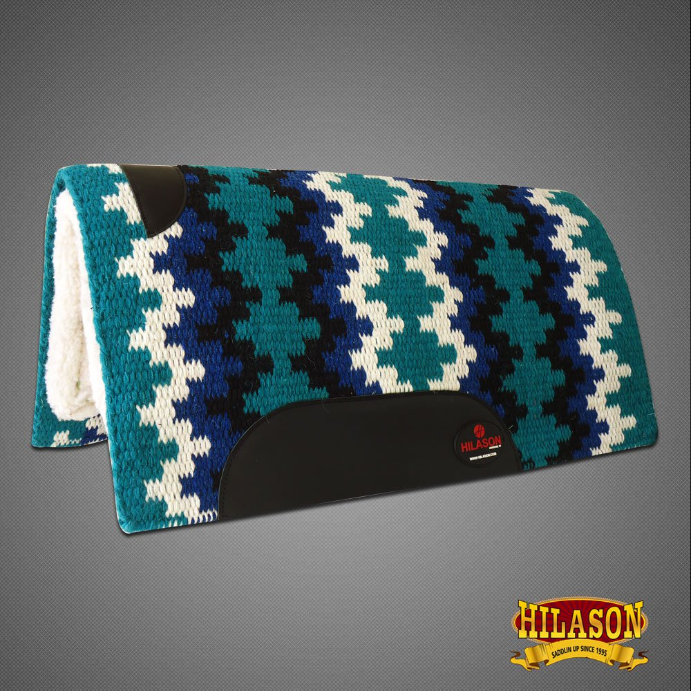 MADE IN USA FE253 HILASON WESTERN WOOL FELT SADDLE BLANKET PAD TEAL BLACK WHITE