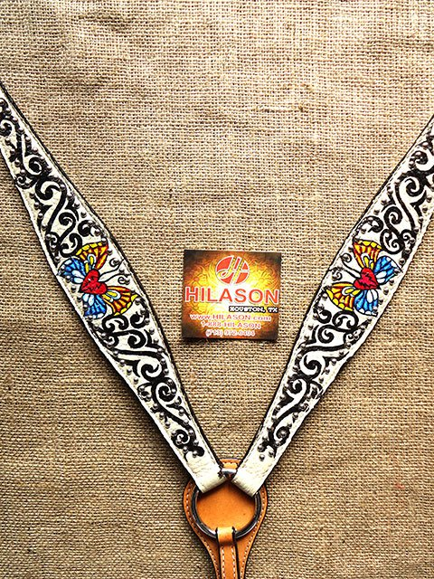 S566 NEW HILASON WESTERN LEATHER HORSE BREAST COLLAR WHITE HAND PAINT BUTTERFLY