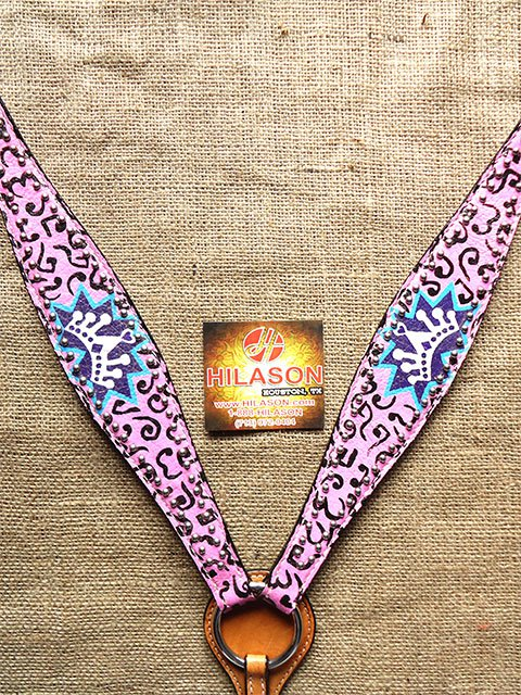 S565 NEW HILASON WESTERN HAND PAINT CROWN LEATHER HORSE BREAST COLLAR PINK