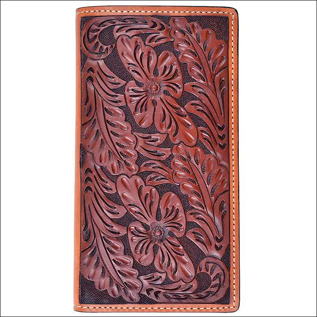 TONY LAMA TAN LEATHER WESTERN RODEO MENS WALLET FLORAL TOOLED NATURAL TRIM