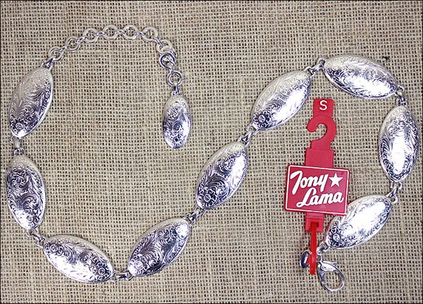 """5500L LARGE TONY LAMA LADIES SILVER CONCHO CHAIN BELT WESTERN COWGIRL 38"""""""" to 43"""