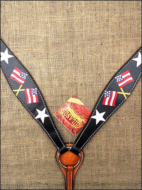 S482 HILASON WESTERN LEATHER HORSE BREAST COLLAR BLACK HAND PAINT US FLAG