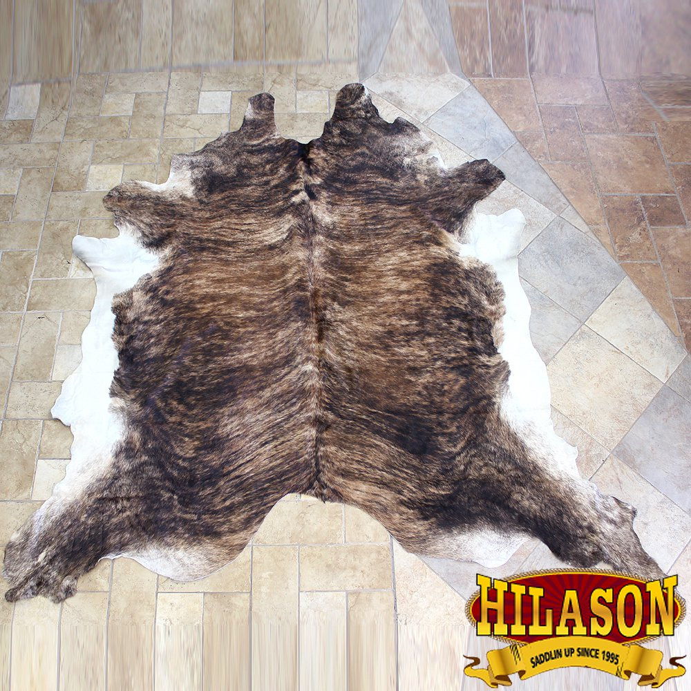 HS1177-F HILASON HAIR ON LEATHER PURE BRAZILIAN COWHIDE SKIN RUG CARPET NATURAL