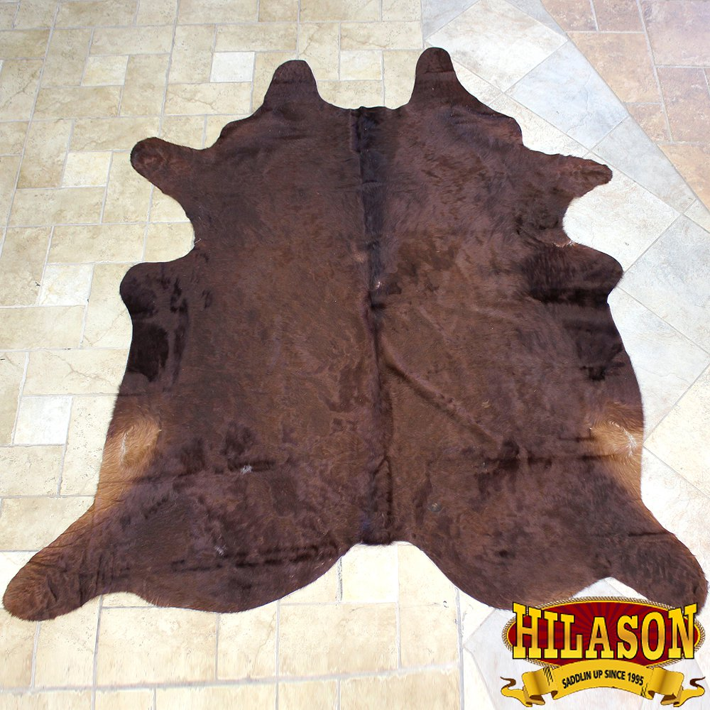 HS1179-F HILASON HAIR ON LEATHER PURE BRAZILIAN COWHIDE SKIN RUG CARPET NATURAL