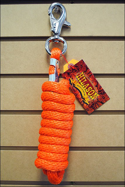 NEON ORANGE HORSE TACK BRAIDED POLY LEAD ROPE W/ BUFFALO SNAP SOLID 5/8 X 9