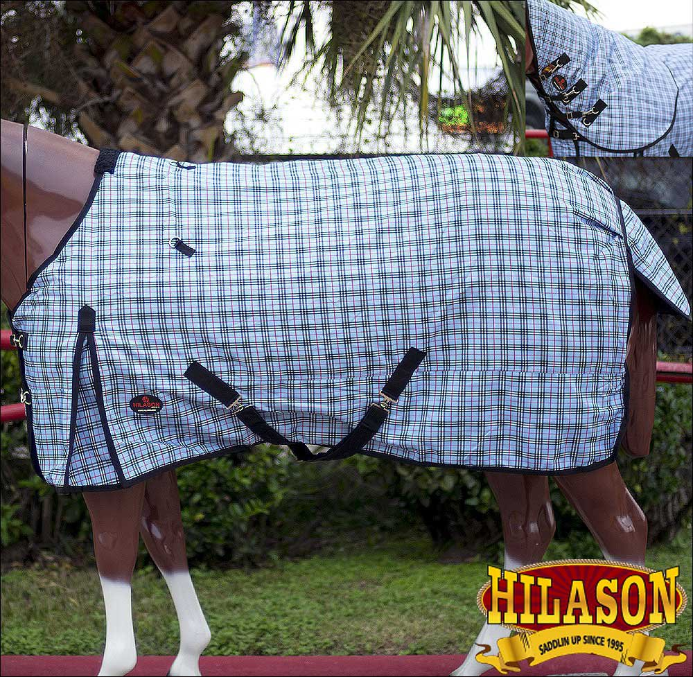 "81"" HILASON 1200D RIPSTOP WATERPROOF TURNOUT HORSE WINTER SHEET GREY CHECK"