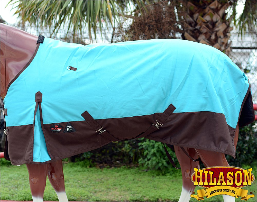 "66"" HILASON 1200D POLY WATERPROOF HORSE COLD WINTER BLANKET TURQUOISE BROWN"