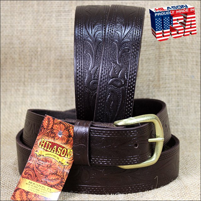 46IN. BROWN 1.5in LEATHER BELT EMBOSSED WESTERN DESIGN MADE IN USA