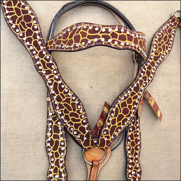 HILASON WESTERN LEATHER HORSE BRIDLE HEADSTALL BREAST COLLAR GIRAFFE PRINT