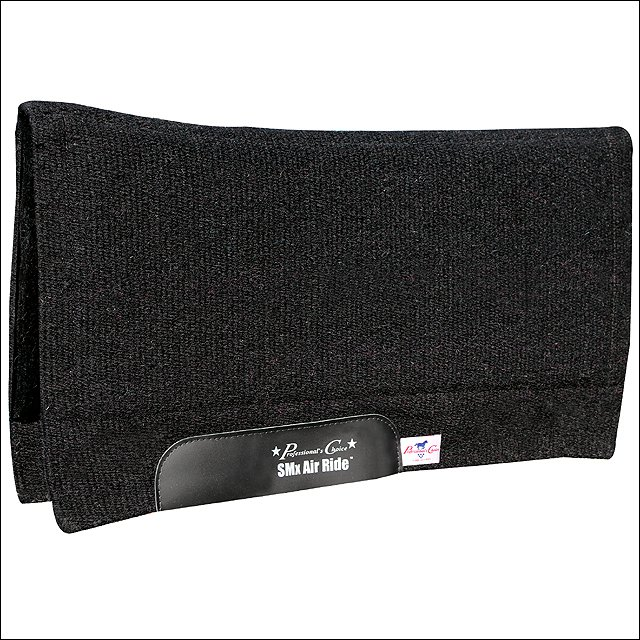 PROFESSIONAL CHOICE COMFORT FIT SMX AIR RIDE HORSE WOOL SADDLE PAD BLACK