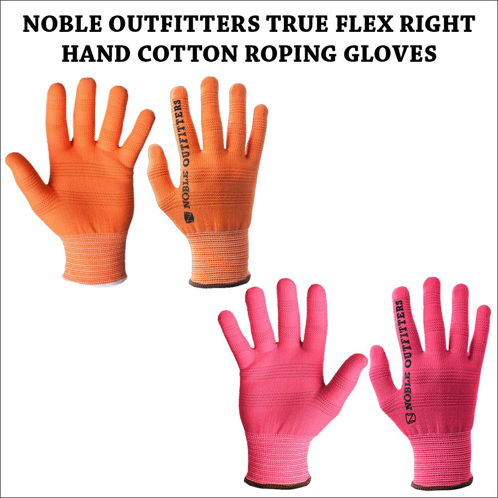 NOBLE OUTFITTERS TRUE FLEX RIGHT HAND COTTON ROPING GLOVES ORANGE PINK