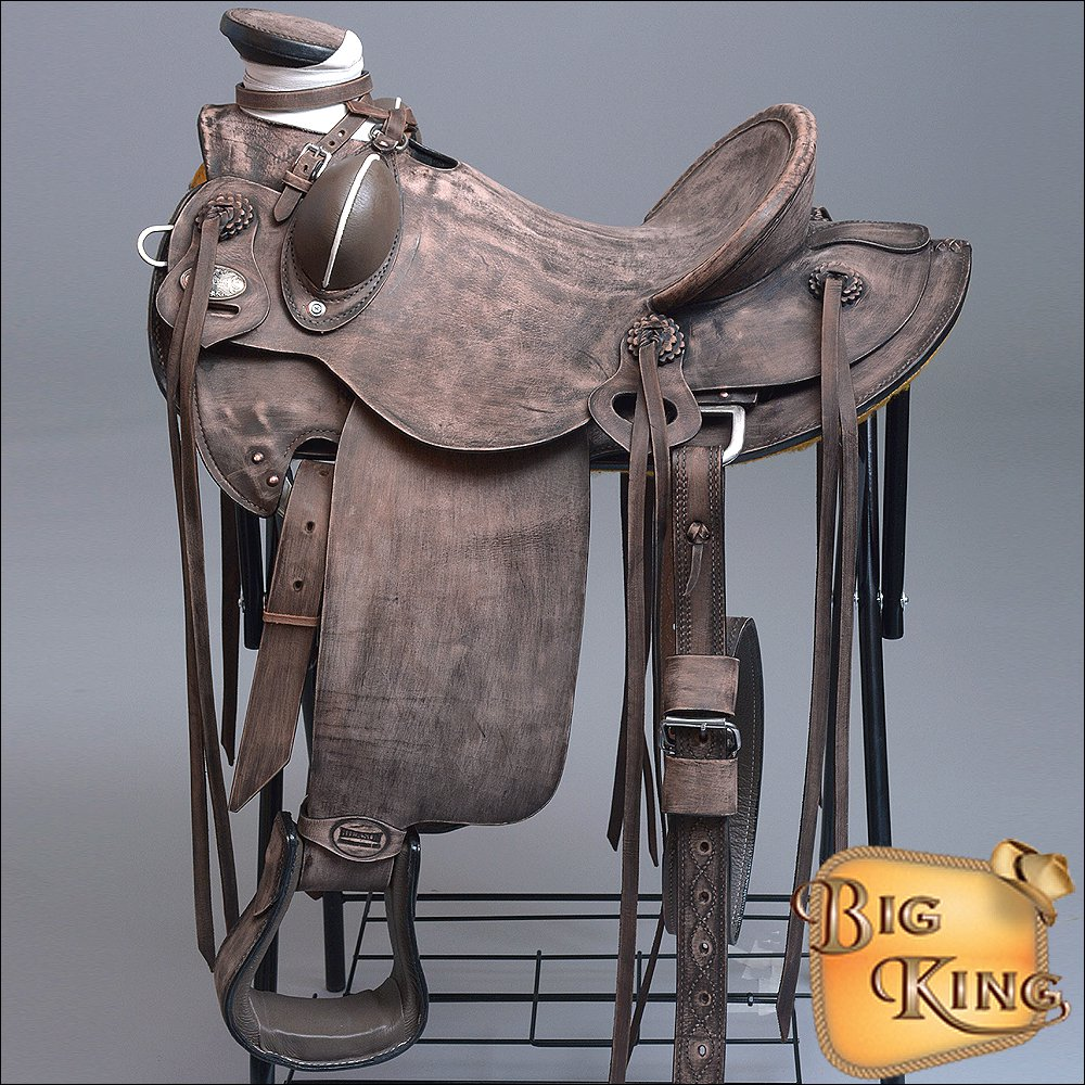WD085DBRO-F HILASON BIG KING WESTERN WADE RANCH ROPING COWBOY TRAIL SADDLE 15""