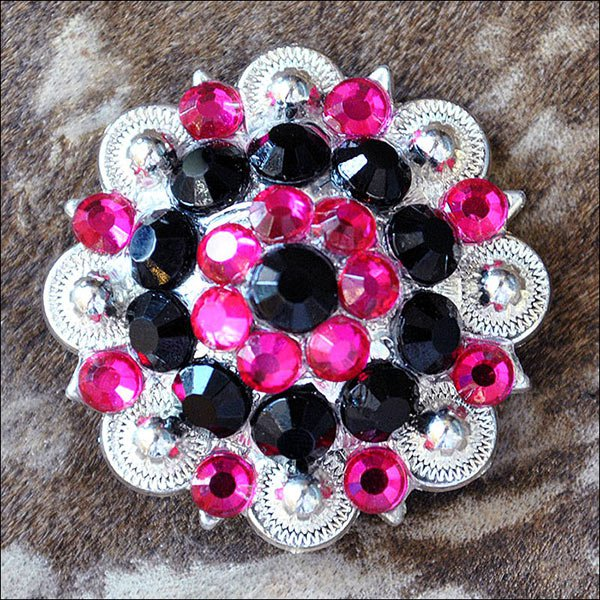 SET OF 16 BLACK HOT PINK CRYSTAL 1-1/4in BERRY CONCHO RHINESTONE SADDLE COWGIRL