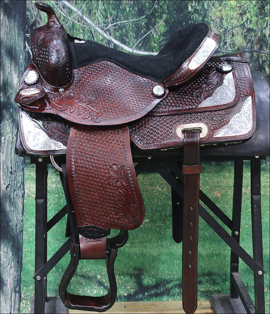 TO100M-A HILASON MAHOGANY TREELESS WESTERN TRAIL BARREL RACING SADDLE 14""